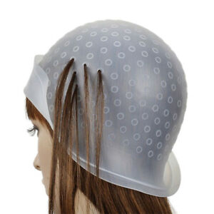 Great Reusable Rubber Hair Colour Highlighting Cap and Metal Hook TippingL_yk