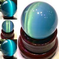 40mm Natural Blue Cat Eye Crystal Ball Quartz Stone Sphere Ball Healing Gemstone