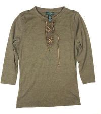 Ralph Lauren Women's PS Petite Small Green Brown Lace Up 3/4 Tee T- Shirt Top i7