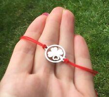 Silver Clover Bracelet Red Protection Evil Eye Stainless Steel Handmade