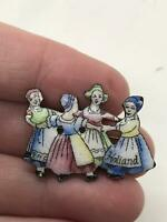 Holland/Dutch Girls Folk Dancing Handmade Vintage  Pin Brooch D-4724