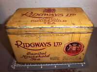 vintage Ridgways Capital Household Tea Tin, great colors & graphics, empty