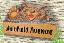 Personalised Carved Oak Wooden  House Number Name Sign Plaque Outdoor 3D Gift