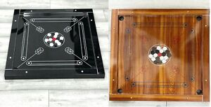 """32 x 32"""" Large Carrom Board, Coins & Striker Set Great Quality Family Fun Game"""