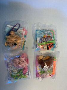 Set of 4 -1999 Winnie The Pooh McDonalds Plush Keychains -Pooh Piglet Tigger Owl