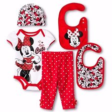 Disney baby girl Minnie Mouse Bibs cap bodysuit pants 5pc gift set 0-6M