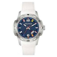 "OROLOGIO UNISEX NAUTICA ""FLAGS"" WHITE/BLUE RUBBER NAI13514G - NEW (LIST. € 149)"