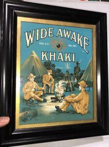 Wide Awake Khaki Original Label Framed Like A Sign War Soldiers C 1910