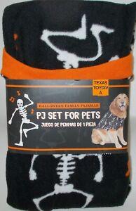 HALLOWEEN PJ's For Pets Dog Costume Sweater Holiday LARGE Black Skeleton Skull