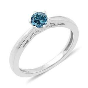 0.25ct Blue Diamond Solitaire Ring in Platinum Overlay Sterling Silver UK Size R