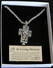 """Memorial Cross Ash Locket Necklace 24"""" Chain Clear Crystals In Loving Memory New"""
