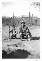 RIFLE BOY Vintage FOUND DOG PHOTOGRAPH bw GRANDPA Original Snapshot 09 19 Q