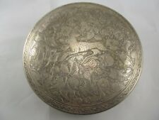 900 SILVER EGYPTIAN? LIDDED BOX DEER THEME EXCELLENT CONDITION NO MONO