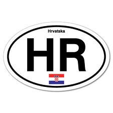 HR Croatia Croatian Country Code Hrvatska Oval Sticker Flag Bumper Water Proo...