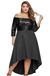 Off Shoulder Sequin Bodice Hi-lo Plus Size Dress Size 18-30