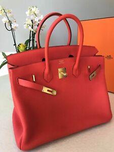 HERMES 30CM BIRKIN RED ORANGE WITH GOLD HW NIB 2018 bag