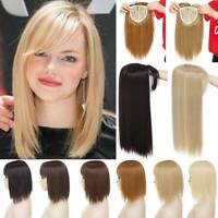US Real Long Clip in Full Head Topper Hair Extensions with Bangs Hairpiece Thick