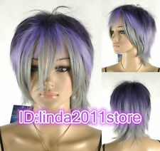 FIXSF70   short straight blue gray black lady's hair WIG wigs for women