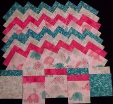 baby pink & blue elephants 4x4 fabric squares 20 quilt blocks/kit/sewing
