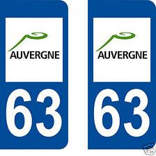 2 stickers autocollants plaques immatriculation auto Département Puy-de-Dôme 63