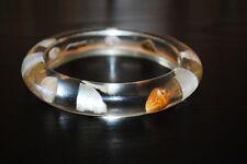Vintage Lucite Acrylic Bangle Bracelet Sea Shells Clear Nice