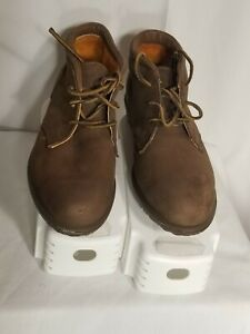 Timberland Dk Brown Suede Chukka Ankle Boots w/Orange Lining Sz 9.5 Waterproof