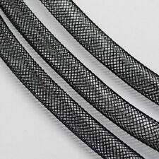 LOT de 6 METRES - 6M FILET CORDON TUBULAIRE résille 4mm NOIR perles bracelet