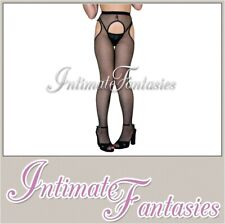 Sexy Black White Or Red Fishnet Suspender Tights Size M 8 10 12 14 16 Crotchless
