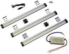 LED ALU Unterbauleuchte PAKET 3x 250Lm 30cm warmweiß Leiste 12V Netzteil Zubehör