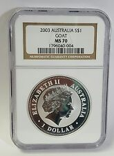 2003 Australia S$1Lunar Year Of The Goat MS 70 NGC 1 OZ Silver Coin