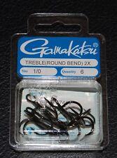 6 Pack Gamakatsu 57411 Superline 2x NS Black Round Bend Treble Hooks - Size 1/0