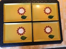 New listing Vintage Four Colorful Davar Lacquer Ware Can 00003D70 opy Trays with Picture of Flower