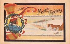 Cobb Shinn Christmas~Stocking Lady in Wreath~Snowy Mill~Bells~1913 Postcard