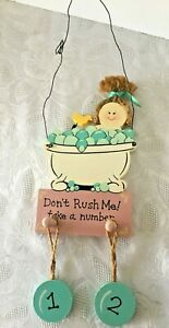 Cute Bathroom Decor Plaque Don't Rush Me Take a Number Painted Wood Girl Ducky