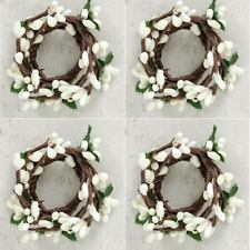 Pip Berry Taper Candle Rings Set/4 Ivory Primitive Decor 1 inch Inner Diameter