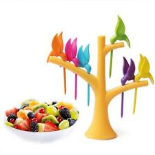 1Set Tree 6 Forks Bird Tree Fruit Creative Fruit Forks Kitchen Toothpick Holder