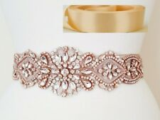"Wedding Sash Belt - ROSE GOLD CLEAR CRYSTAL PEARL Belt = 17"" = LT PEACH BLUSH"