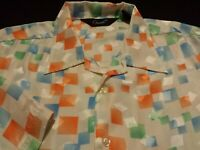 Genelli Mens Medium Short Sleeve Button-Front Silk Multicolor Geometric Shirt