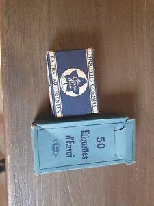 """Anciennes boites étiquettes bagages  """"Unis"""" et gommées """" AU LIERRE BLEU """""""
