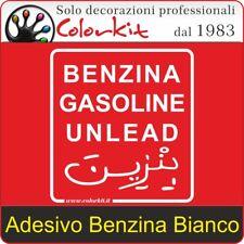 Adesivo Benzina Bianco su Sfondo Trasparente cm. 10x11 - 000257 by Colorkit