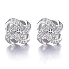 Womens Swirl Earrings Sterling Silver Plated Round Stud Studs Crystal Xmas Gift
