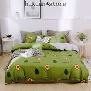 Bedding Set Green Bed Linens 4pcs Pastoral Bed Set Cover+flat Sheet+pillowcase