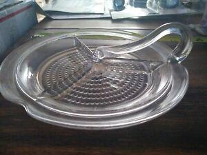 Vintage  Hobnail  Divided  Glass Tobacco  Bud  Nug  Tray Serving  Dish
