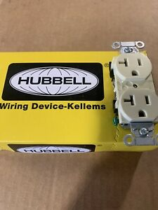 (10 Pack) Hubbell 5352AI  20A 125V Duplex Receptacle, Outlet Ivory