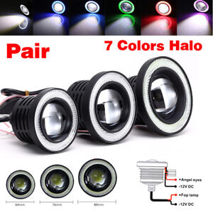 """2.5/3/3.5"""" inch 3200Lm LED Projector Fog Lights Round with Angel Eye Halo Ring"""