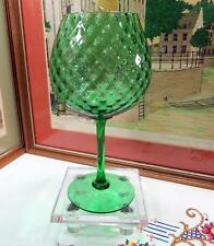 "VINTAGE TALL EMERALD GREEN DIAMOND OPTIC 11 5/8"" BRANDY SNIFTER"