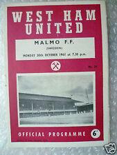 1961 West Ham United v Malmo FF, 30 de octubre