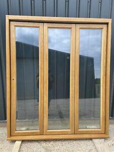 New  External Wooden Oak Double Glazed Bifold Doors Natural Timber High Quality