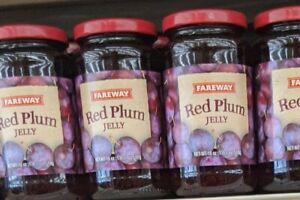 2 Jars- Fareway Red Plum Jelly 18 oz each