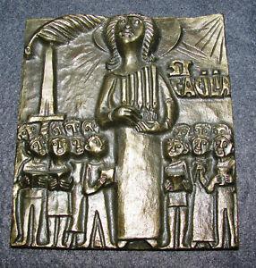 Egino Weinert Bronze Reliefbild St. Cacilia